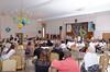 The school family, parents and guests are gathered in a hall.<br /> У святочному залі зібрались шкільна родина, їхні батьки та гості. Щирі слова привітань лунають на адресу випускників.