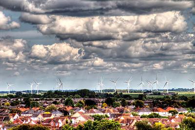 The Coldham Farm wind turbines.