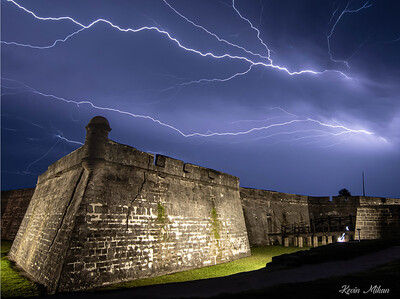 Lightning at Fort by Kevin Mikan