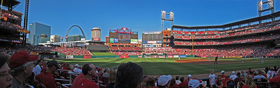 Summer evening in St. Louis. (Cardinals playing the Royals June 19, 2011. Jake Westbrook is pitching. Cardinals won 5-4.)
