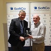 Kevin Conby present the Vets Player of the season award to Michael O'Flahery who is collecting on behalf of Gavin McConnell