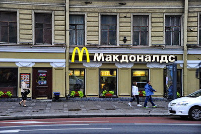 MacDonald's in Russian:  Iconic American restaurant is a favorite in St. Petersburg.