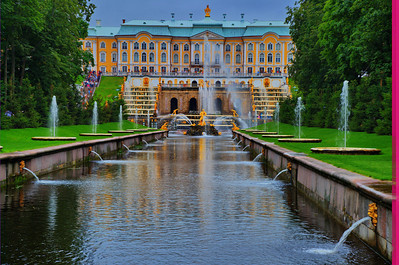 """The Peterhof Palace:  (Russian: Петерго́ф, Petergof, (no """"g"""" in Russian, thus direct transliteration is Peterhof), Dutch or German (just as """"Hitler"""" is transliterated as """"Gitler"""" in Russian)[1] for """"Peter's Court"""") is actually a series of palaces and gardens located in Saint Petersburg, Russia, laid out on the orders of Peter the Great. These Palaces and gardens are sometimes referred as the """"Russian Versailles"""". The palace-ensemble along with the city centre is recognised as a UNESCO World Heritage Site."""