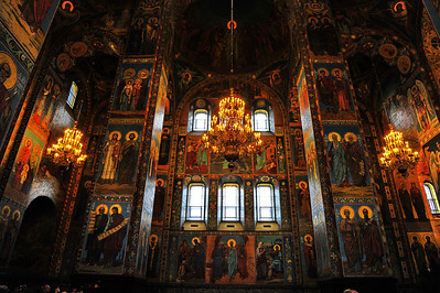 Interior: The Church of the Savior on the Spilled Blood  The walls of the church has no vacant space.  Every square inch is covered with an icon.  I was awestruck not only by the exterior, but also the interior.