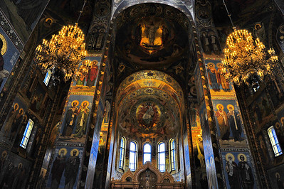 Interior:  Church of the Savior on the Spilled Blood  Ceiling mosaics   There are  over 7000 square feet of tiled mosaics, inside and part of the outside of the church.