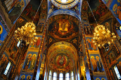 "Interior:  Church of the Savior on the Spilled Blood  Ceiling mosaics in the top dome showing the Tansfiguration of Jesus the other dome showing ""Christ in Glory"""