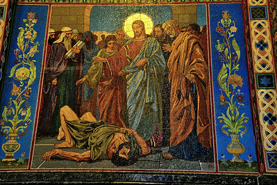 Interior:  Church of the Savior on the Spilled Blood  Jesus casts out demons