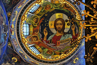 "Interior:  Church of the Savior on the Spilled Blood  Central dome ceiling mosaics of ""Christ Pantocrato"""