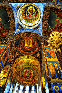 Interior:  Church of the Savior on the Spilled Blood  Ceiling mosaics