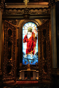 The only stained glass window in the whole place.  It depicts the resurrected Christ.   St. Isaac's Cathedral
