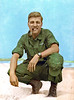 GAS-15 Gary Stading (CA, KIA 25 April 68) on the beach at Chu Lai. It's very likely he had a ROK (Republic of Korea) soldier or maybe civilian, who ran a business on the beach, take and 'colorize' this photo. Note the Combat Infantry Badge (CIB), as well as the 'California' and single stripe on the cap.  Note from Doc Norman: I was present when this photo was shot. It was taken by the Battalion mail clerk. Can't remember his name, but he was an oriental guy, heavy into photography. I wann call him Phil, but that dosn't feel right. It was colorized by somebody cause the clerk only shot B & W. He wanted to be a news photogrpher when he got back to the world and all they do is B & W. ... Doc