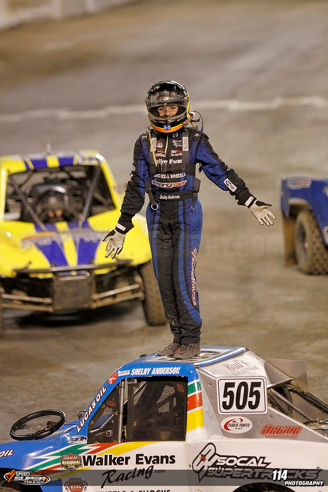 Super Trophy Kart main event winner Shelby Anderson celebrates her win at Stadium Super Trucks Round 5 at Qualcomm Stadium in San Diego, California on May 18, 2013. Mandatory Photo Credit: Chris Anderson/114photography