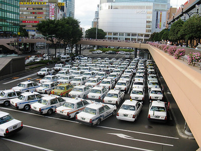 Taxi's in front of train station