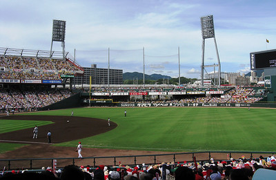 Hiroshima - Mazda Zoom Zoom Stadium - train between the two lights