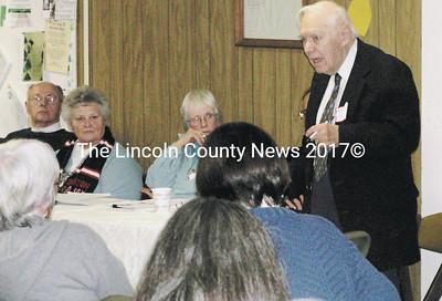 "Rev. Mike Murphy, Co-DIrector of the Waldoboro Food Pantry, spoke about the increased number of people seeking help at the ""Keeping Waldoboro Warm and Fed"" forum on Tuesday night. (J Maguire photo)"