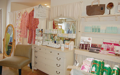 Bath, cosmetics, and skin care goodies abound in this store. Mario Badescu's skincare products are featured on the white dresser. Their representative will be at the special Valentine's Day event. (E. Elliott photo)