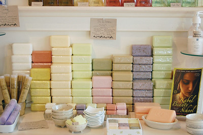 These brightly colored bars of soap are all different scents made by France's Pre' de Provence. They are non-drying and paraben free with a pure vegetable base. (E. Elliott photo)