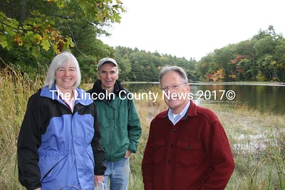 Maureen Hoffman, Executive Director of the Sheepscot Valley Conservation Association, joined two property owners on a walk Friday afternoon along the Sheepscot River in Alna. Joe Barth (center), his wife, Doreen Conby (not present) and William Weary (right) jointly conserved over 500 acres of their land with the help of the SVCA and the Small Woodland Owners Association of Maine. (J Maguire photo)