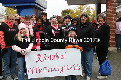 The Sisterhood of the Traveling Ta-Ta's were one of many groups to participate in the 12th annual Damariscotta Region Making Strides Against Breast Cancer walk on Sunday, Oct. 18. (J Maguire photo)
