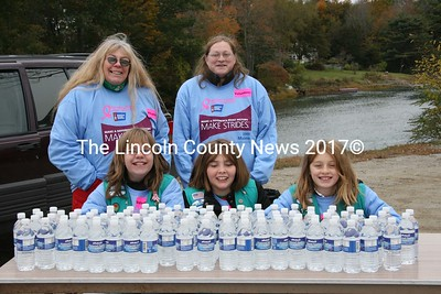 Girl Scout Troop 21-25 from Waldoboro supported the hundreds of people who took part in the Making Strides Against Breast Cancer walk on Sunday, Oct. 18 in Damariscotta. Trying their best to keep warm by the brisk Damariscotta River were (front, left-right) Shelby Caroline, Wile Dustin and Sarah Harvey along with (in back left-right) Pat Dustin and Jen Harvey. (J Maguire photo)