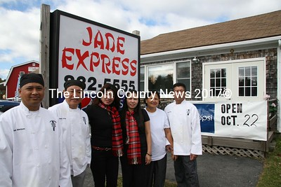 Jade Express, a new Chinese food take out on Rt. 1 in Waldoboro, opens for business Oct. 22. Owner Bernard Delima stands with wife Marian, Noel and Jenny Buenida, Nelia and Francisco Delima. Their phone number is: 832-5555. (J Maguire photo)