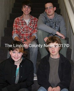 Lincoln Academy students of the month for September are: (front) freshman Autumn Boadoin, sophomore Liam Barnum, (in back) junior Ben Conary (left) and senior Mason Monti. (J Maguire photo)