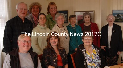 Lincoln County News local correspondents' luncheon. They are (front row, l-r) Doug Wright, Frieda Hanlon, Marilyn Beane, (second row, l-r) Bill Williamson, Vicki Nichols, Jo Cameron, Peggy Flagg, Lorraine Fossett, Faith Jones. Back row: Sharon Christian Aderman, and Candy Congdon.  Not photographed are: Brenda Bonyun, Conrad (Doc) Shilke, Julie Stegna, Wanda Mcnair, Dick Halverson.  Marilyn Sawyer, and Willa Vinal. (Joe Gelarden photo)