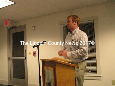 Waldoboro Planning and Development Director Patrick Wright spoke with selectmen about a community energy block grant they are pursuing. Town officials seek to find ways to reduce energy costs. (J Maguire photo)