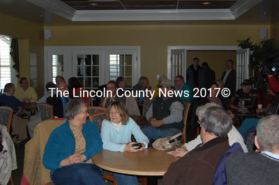 A small crowd came to the Dec. 28 auction for the Edgecomb Development property. Hearing no bids at the late morning auction, attorney Jacob Manheimer of Pierce Atwood sold the property to the Savings Bank of Maine for $7.5 million. According to Manheimer, Roger Bintliff and his company, Edgecomb Development, LLC borrowed $16 million. Priority Group, LLC, the court-appointed receiver for the bank will manage the property and sell it off in its entirety or in individual parcels. (J Maguire photo)