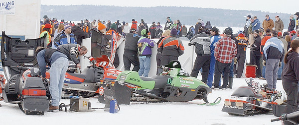 A large crowd gathered at Damariscotta Lake State Park in Jefferson for drag races on Saturday.