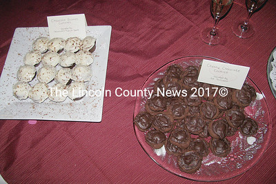Chocolate desserts were made and donated by many local citizens to support the Healthy Kids! fundraiser on Saturday in Damariscotta. (J Maguire photo)