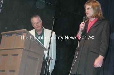 Emcee Jon McKane with special guest Sarah Palin (Lee Emmons).