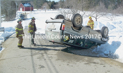This Jeep rolled over on Golden Ridge Rd. in Alna after hitting a patch of snow and ice around 9:11 a.m. last Thursday. The female driver. who lives on the road, was unharmed and managed to extricate herself through the driver's side door. Alna Fire and EMT's responded. (Greg Foster photo)