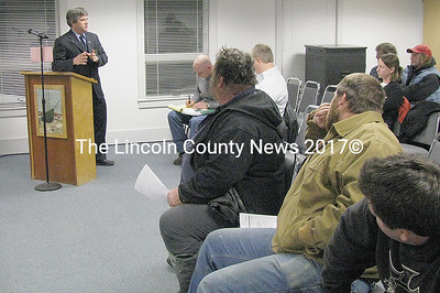 Sen. David Trahan (R-District 20) speaks with clam diggers and concerned citizens at a Shellfish Committee meeting in Waldoboro Thursday night, March 5. Trahan is drafting a bill that has bi-partisan support to help the shellfish harvesting industry. Once drafted, diggers will be able to attend a public hearing and speak to the issues. (J Maguire photo)