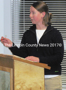 Liz Petruska, director of the Medomak Valley Land Trust in Waldoboro, told the members of the Shellfish Committee and clam diggers sitting in on the March 5 meeting about a grant she and others are working to obtain. They hope to obtain grant funding to conduct water tests along the Medomak River in an effort to open the flats for clam diggers. (J Maguire photo)