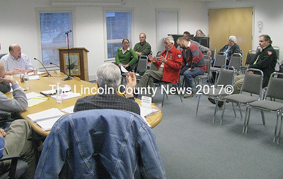 Members of the Dept. of Inland Fisheries & Wildlife, Lincoln County Fish and Game Association, Medomak Valley Land Trust and community citizens met during a public hearing at the start of the Waldoboro Board of Selectmen meeting Tuesday night to discuss youth- only fishing on the Quarry Hill property in Waldoboro. (John Maguire photo)