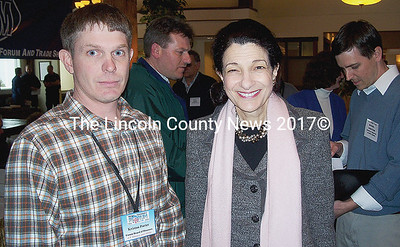 Maine Fishermen's Forum president Kristan Porter and Maine Sen. Olympia Snowe. (Kim Fletcher photo)