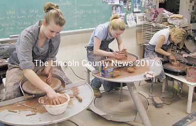 Medomak Valley High School students make clay bowls for the annual Empty Bowl Community Supper that will be held on March 24. (J Maguire photo)