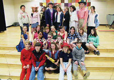 "Medomak Middle School Drama Troupe's star studded cast of ""Bubba, The Cowboy Prince"": Abby Maguire, Greta Brown, Isabelle Lobley, Nick Anderson, Vincent Vannah, Bandon Soper, Brent Barrows, Brianna Gross, Brenna McAfee, Abigail Vail, Kara Weiske, Kristen Simmons, Justin Gillman, Ben Collyer, Kendra Beal, Kesi Keene, Bridgett Miller, Kelsie Grady, Anne Bartlett, Ellen Tuttle, Ashton Harvey, Charity Hoch, Jean Trueman, Sofie Sawyer-Johnson, Kesie Wotton, Courtenay McDonald and Rebekah Beal. The shows are on March 12, 13 and 14 at 7:30 p.m. Tickets cost $3 with discounts to families of four or more. For more information contact Nancy Durgin at 832-5028 or nancy_durgin@sad40.k12.me.us (J Maguire photo)"