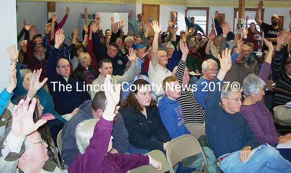 Alna town meeting voters overwhelming support the firehouse addition proposal. (Greg Foster photo)