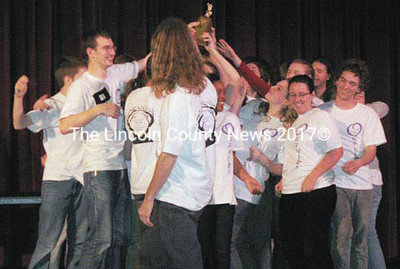 "Lincoln Academy cast and crew of ""Sonnets of Orpheus"" came in runner up for Class A in the Maine Drama Festival finals."