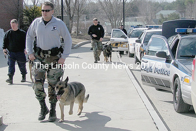 Southern and Central Maine law enforcement brought canine units to Lincoln Academy in an annual surprise drug search Monday morning. Units from Cumberland County, Portland Police, Maine Correctional, Old Orchard, Scarborough, Windham, Saco and the Lincoln County Sheriff's Office took part in the exercise at around 10:30 a.m. on March 23. (J Maguire photo)