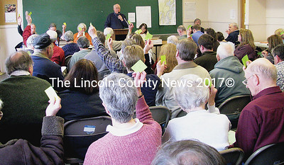 Bremen residents packed the Town Center to vote on the 53 articles during the annual town meeting on March 28. (J Maguire photo)