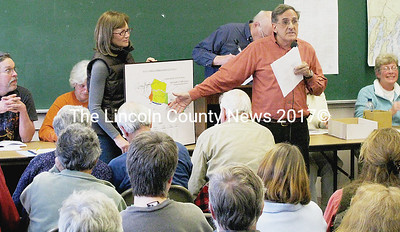 Dan and Suzanne Goldenson wanted the town of Bremen to amend the Shoreland Zoning Ordinance that would allow them to build residential structures in a Coastal Fisheries Maritime Activity District, located on Keene Narrows Road in Bremen. The article was defeated during the Bremen annual town meeting on March 28. (J Maguire photo)