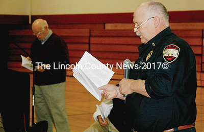 Newcastle Fire Chief Clayton Huntley argues for the fire department's recommended $106,000 budget.