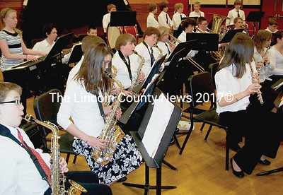"The Wiscasset Middle School concert band plays a rendition of ""Alpha Squadron"" by Greg Hillis during the combined schools concert last Thursday. (Greg Foster photo)"
