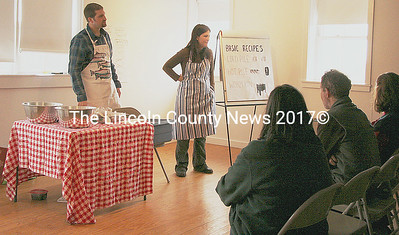 "Organic farmer Brendan McQuillen talked about organic gardening, followed by a presentation by master composter Tracey Allen during ""Green Beginnings"" spring celebration at the Round Top Farm in Damariscotta on Saturday. (J Maguire photo)"