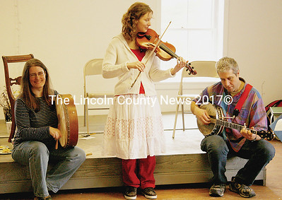 "Fellow musicians joined fiddler Hope Hoffman at the ""Green Beginnings"" Spring celebration at the Round Top Farm in Damariscotta on Sat., April 4. (J Maguire photo)"