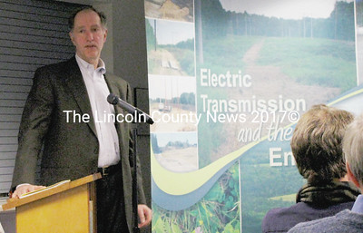 Research scientist Bill Bailey addressed some common concerns people have regarding power transmission lines at the Central Maine Power presentation at the Waldoboro town office Tuesday night. (J Maguire photo)