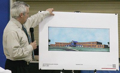 Oak Point project coordinator Norm Lemire showed Jefferson residents plans for the proposed new school building project at the Jefferson School Board meeting on April 1. (J Maguire photo)